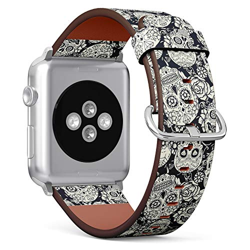 Compatible with Apple Watch 38mm & 40mm Leather Watch Wrist Band Strap Bracelet with Stainless Steel Clasp and Adapters (Day Dead Sugar Skull Floral)