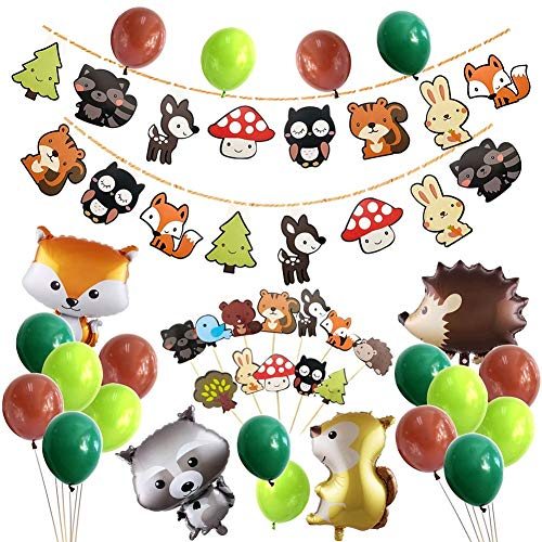ALISSAR 50-Pack Woodland Party Decorations Supplies with 22 Balloons, 2 Banners and 12 Cupcake Toppers Picks, Woodland Creature Baby Shower Party Supplies.