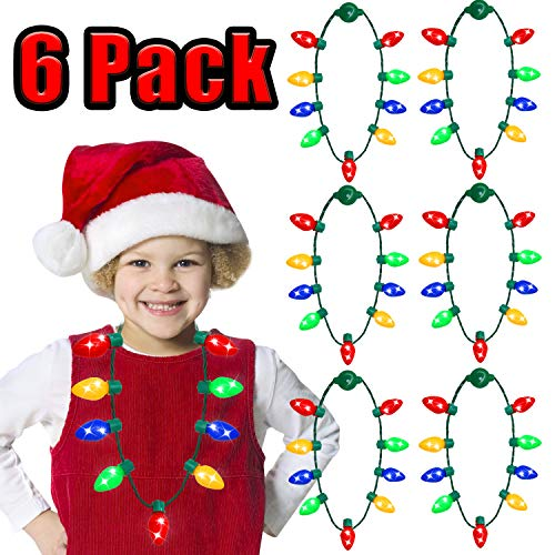 Christmas Light Necklace Party Favors Ugly Xmas Party,Light Bulbs Kids Adults,Christmas Decorations Bulk Options,Holiday Party Favors Decoration Accessory Glow in The Dark Party Supplies(6 Pack) ()