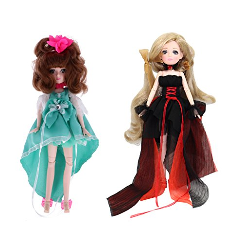 SM SunniMix 2pcs 1/6 BJD SD Girl, 30 Joints Articulated Body, Fashion Anime Girl Movie Character Doll with Costume (Can be Taken Off) - Can Enter Water -