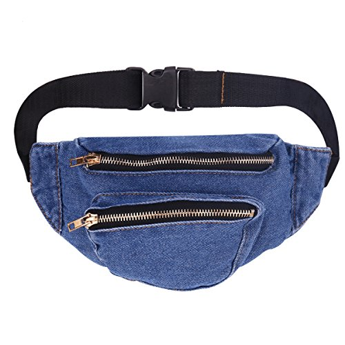 Men Women Jeans Fanny Pack - Lingae Casual Hiking Running Travel Sport Wasit Bags (Dark -