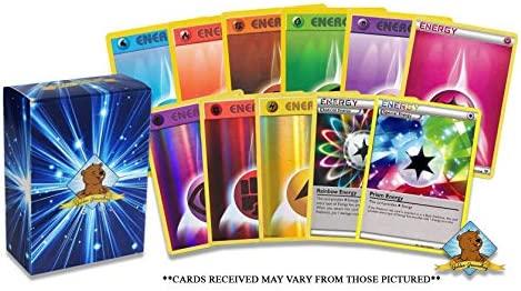 100  Energy Cards - 95 Basic Energy Cards 5 Holo Energy All Cards are - Authentic - Includes Golden Groundhog Treasure Chest Storage Box