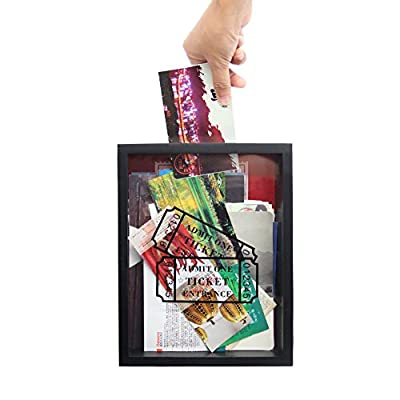 "MAGGIFT Memento Storage Boxes,Wooden Stub Shadow Box Tickets, Ticket Memory Box (Black) - Material: made of solid wood and glass Box has slot in top,it is 3.9"" long for larger tickets, and hinged back that easily opens for tickets removal Freely standing on a desk or easily display on shelf or mantel or mounting on wall - picture-frames, bedroom-decor, bedroom - 51Vlgt5MqbL. SS400  -"