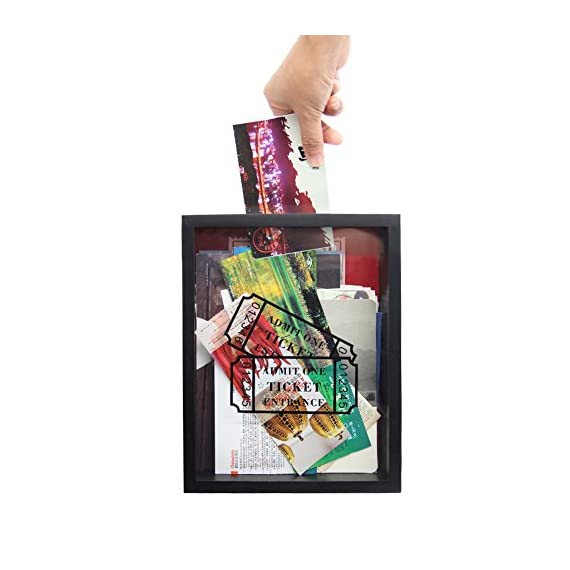 """MAGGIFT Memento Storage Boxes,Wooden Stub Shadow Box Tickets, Ticket Memory Box (Black) - Material: made of solid wood and glass Box has slot in top,it is 3.9"""" long for larger tickets, and hinged back that easily opens for tickets removal Freely standing on a desk or easily display on shelf or mantel or mounting on wall - picture-frames, bedroom-decor, bedroom - 51Vlgt5MqbL. SS570  -"""