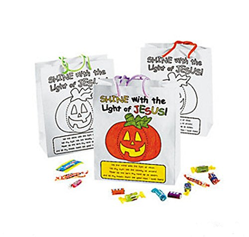 Color Your Own Christian Pumpkin Gift Bags (1 Dozen) -