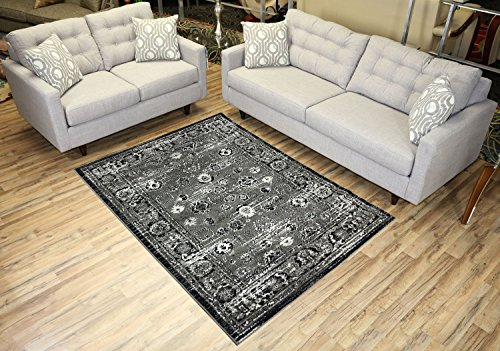 Designer Collection Vintage Mahal Design Traditional Oriental Area Rug Rugs 2 Different Color Options (Grey, 4'11