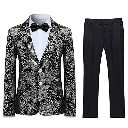 Boyland Boys Tuexdo Suit Formal Silver Jacquard Jacket Pants Black Suit Set]()