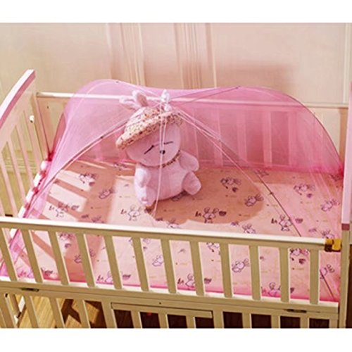 KateDy Pink Umbrella Style Mosquito Net,Foldable and Portable Baby Infant Nursery Play Tent,Bed Crib Canopy Mesh Mosquito Net Netting,Summer Gift 43.3''x25.6''x15.7'' by Katedy