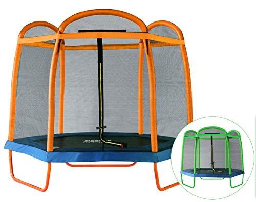 SixBros. SixJump 2,10 M Gartentrampolin Orange Trampolin mit Sicherheitsnetz TO210/2027