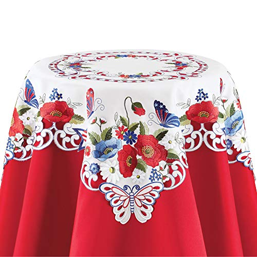 Collections Etc Patriotic Garden Embroidered Table Linens - Festive Fourth of July or Memorial Decorative Accent for Dining Room, Square