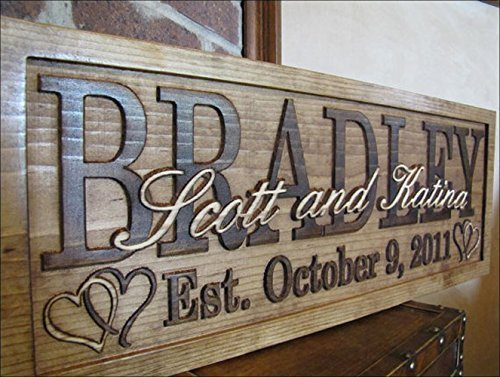 Personalized wedding gift HEARTS Family Name Signs CARVED Custom Wood Sign Last name Wedding Gift for couple rustic Established personalized sign house warming love Hearts sign]()