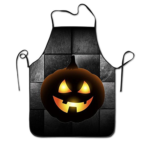 Carved Pumpkin With Dirty Pattern For Halloween Greeting Cards Commercial Restaurant Kitchen Chef Utility (Carved Apron)