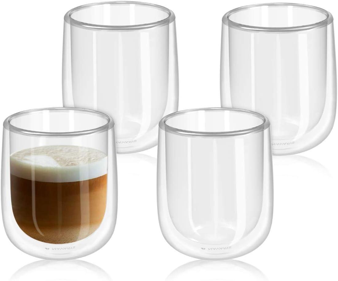 Navaris Set de 4 Vasos de Doble Cristal - Taza de 350ml de Doble Pared Resistente al Calor - para café te Helado Bebidas Calientes frías o postres