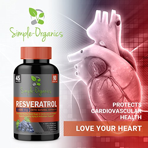 51Vlioue CL - Resveratrol 1600mg per Serving- 100% Organic, Pure Extra Strength Complex with Organic Trans-Resveratrol - Anti-Aging, Radiant Skin, Blood Sugar and Immunity Support- 45 Day Supply