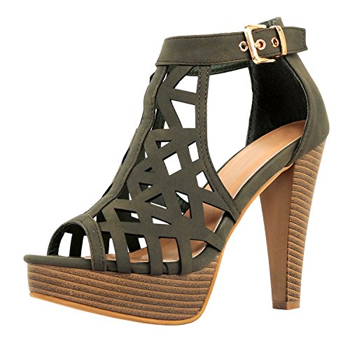 Fashion Women Shoes Sandal (Guilty Shoes Womens Cutout Gladiator Ankle Strap Platform Fashion High Heel Sandals Heeled Sandals, Olivegreenv3 PU, 8.5 B(M) US)