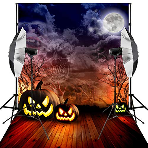 Kooer 9x6ft Halloween Backdrop Scary Horrible Ghosts Trees Full Moon Pumpkin Lantern Photo Photography Backdround Studio Props(6x9ft, Halloween backdrop5 6)