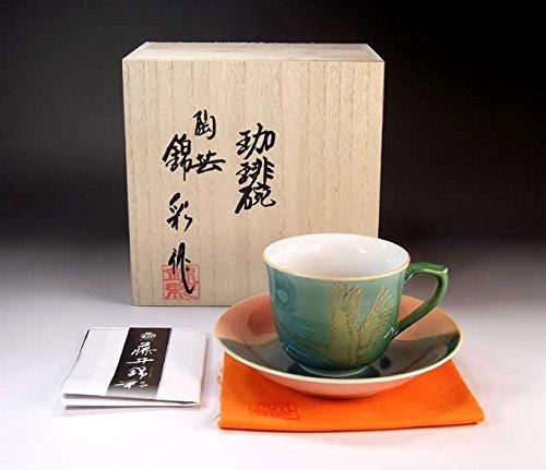 Japanese traditional crafts   Arita - MidoriAyaçÖ‹àAya auspicious Fuji crane picture coffee cup   potter Fujii NishikiAya