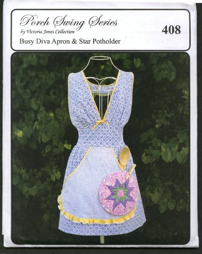 Busy Diva Retro Apron & Star Potholder Hawaiian Sewing Pattern #408