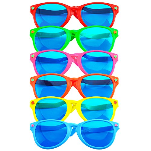 Coobey 6 Pieces Jumbo Plastic Sunglasses Colorful Jumbo Glasses for Costumes Hawaiian Beach Party -