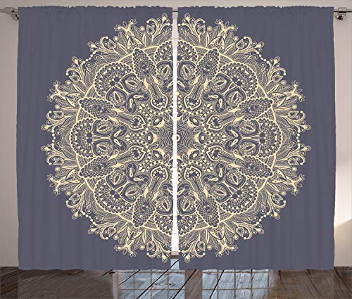 Ambesonne Mandala Curtains, Asian Style Floral Mystery Deep Active Love Sun Moon Sign Boho Art Design, Living Room Bedroom Window Drapes 2 Panel Set, 108 W X 63 L Inches, Cadet Blue Ivory
