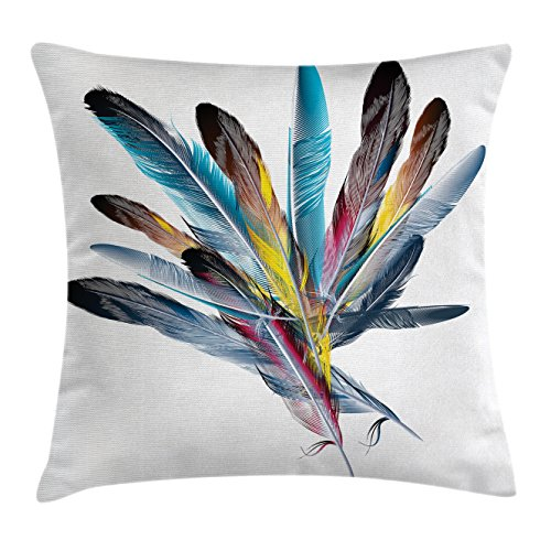 Quill Square (Floral Throw Pillow Cushion Cover by Ambesonne, Inspirational Bouquet of Types of Colorful Retro Style Quill Pen Feather Figures, Decorative Square Accent Pillow Case, 28 X 28 Inches, Multicolor)