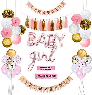 Amazon Com Kingmade Baby Shower Decorations For Girl With It S A Girl Banner Baby Girl Foil Letter Balloons Flower Pom Poms Paper Lanterns Tassels Mega Girl Baby Shower Decoration Kit Free