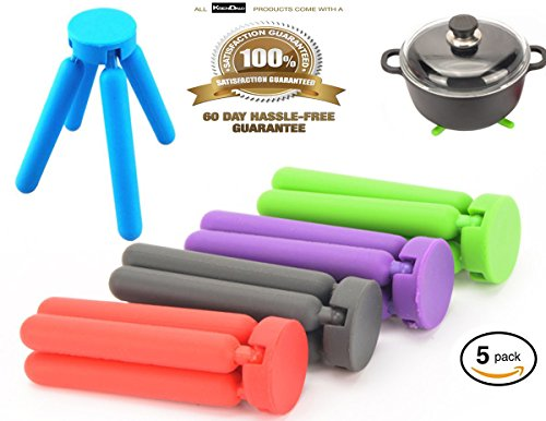 5/Pack Colorful Silicone Trivets, KSENDALO Pot Holder in Eco Foldable Compact (K-mat Ultra Kitchen Mat)