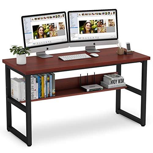 Tribesigns 55 Inches Computer Desk with Bookshelf Works as Office Desk Study Table Workstation for Home Office (55'', Cherry)