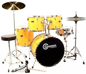 full size yellow drum set with cymbals stands sticks stool double braced hardware. Black Bedroom Furniture Sets. Home Design Ideas