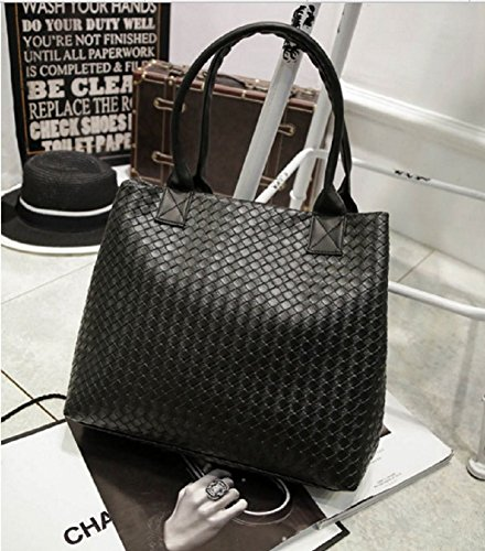 Womens woven Handbag Simple Fashion Pu Leather woven Handbag Shoulder Purse Bags (Large 、Black)