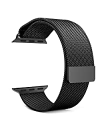 Apple Watch Band Series 1 Series 2, MoKo Milanese Loop Stainless Steel Bracelet Smart Watch Strap for iWatch 42mm All Models with Unique Magnet Lock, No Buckle Needed - BLACK (Not Fit iWatch 38mm)