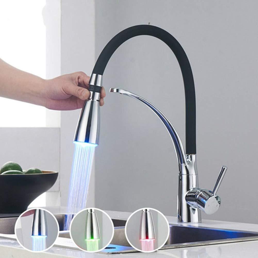 Robinet de cuisine /à LED en caoutchouc pour /évier Robinet mitigeur /à poign/ée unique