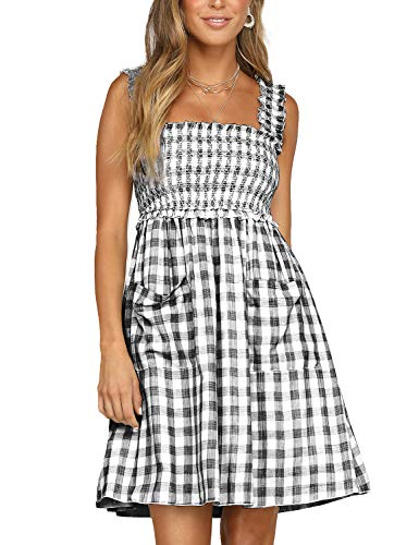 Blooming Jelly Womens Plaid Dress Sleeveless Swing A line Gingham Summer Short Mini Dresses with Pockets(XL,Black) ()