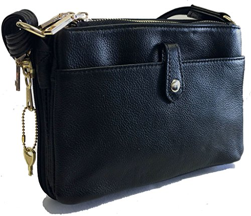Compact Genuine Leather Concealed Carry Purse, Shoulder or Cross-Body, CCW, Black