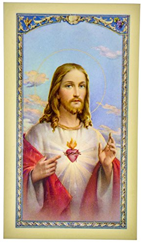(William J. Hirten Traditional Holy Cards with Catholic Art and Prayers (Sacred Heart of Jesus))