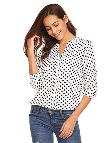 Sholdnut Womens Casual Chiffon Polka Dot Office Blouses Tops Long Sleeves Loose Shirts