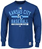 Kansas City Royals MLB Majestic Mens Long Sleeve Color Block Shirt Royal Blue Big Sizes