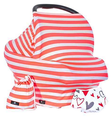 Baby Benjamin Car Seat and Nursing Cover with Bib and Drawstring Bag, Neon - Drawstring Coral