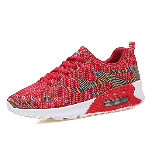 Jd8010hongse38 Femmes Enllerviid Maille Air Max Sport Chaussures De Course Mode De Marche Baskets Rouge 6.5 B (m) Us