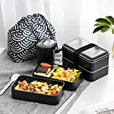All-In-One Japanese Bento Box With Microwave Safe Containers | Insulated Leakproof Bento Lunch Box Stackable 2 Tier | Lunch Box Containers with Utensils, Divider and Sealing Strap