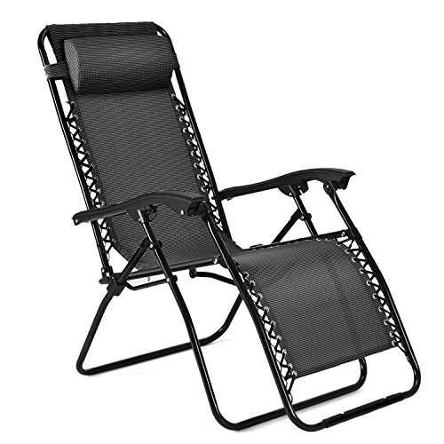 Kmart High Chairs (Flexzion Zero Gravity Chair - Anti Gravity Outdoor Lounge Patio Folding Reclining Chair and Textilene Seat with Footrest & Adjustable Pillow For Yard, Beach, Camping, Garden, Pool, Lawn Deck (Black))