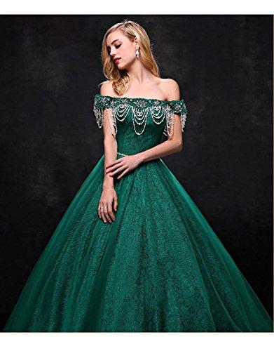Spitze Schulter Ausschnitt Grün Band Boot Emily reizvolle vom Ballhochzeitskleider weg Prinzessin Beauty 04A7ESwxqW