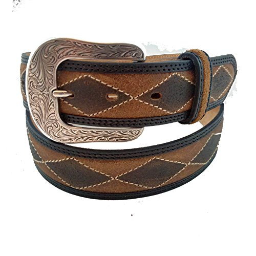 Dixie diamond stitched leather belt with removable buckle 39 to 43 inches waist