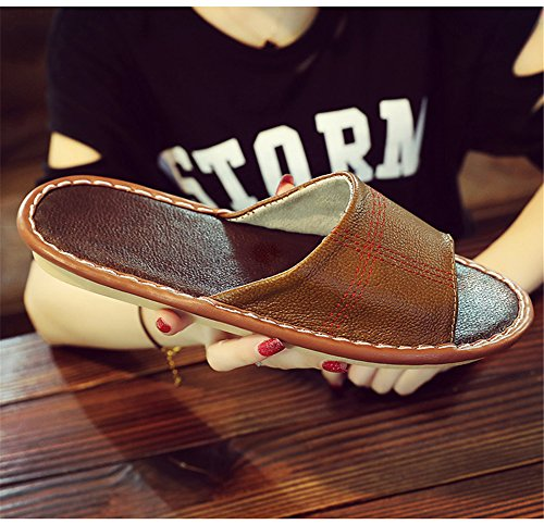 for Autumn Wooden W Smelly Summer Slippers Floor Cowhide Spring Rose TELLW Men Anti Corium Leather Women awt8P