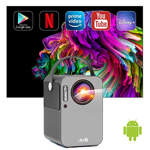 Android TV 9.0 Portable Projector,Artlii Play Smart WiFi Bluetooth Projector with Built-in Netflix, Disney+, Hulu,1080p Support Projector ,±45°4D Keystone Correction, HiFi Dolby Stereo,