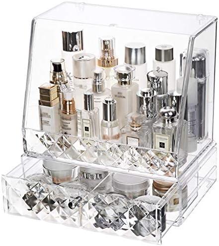 LFOZ 家庭用大容量引き出し防塵化粧品収納ボックスダイヤモンドカット面透明アクリルスキンケアマスク口紅サイズ (Color : A)