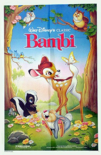 BAMBI Authentic Walt Disney animation 27x41 One Sheet Movie Poster, R-1988