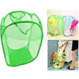 TriEcoWorld (BUY 3pcs at 2pcs price) High Quality Laundry Basket Foldable Pop Up Mesh Washing Bag Bin Hamper Toy Tidy Storage Clothes Underwear Case Frame, Apple Green