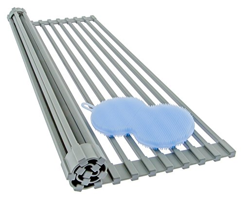 "Roll Up Dish Drainer - Solid Steel (Unique Square Rod Design) Silicone Over The Sink Dish Drying Rack + BONUS Dish Scrubber - Large 20.5"" x 12.75"" (Mid Gray) - Also Useful as a Trivet and Cooling Rack"