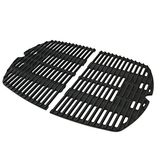 Uniflasy 7645 Cast Iron Cooking Grates for Weber Q200, Q220, Q2000 Series, Q2400 Gas Grill, Grill Parts Grill Grates Replacement for Weber 7645 65811